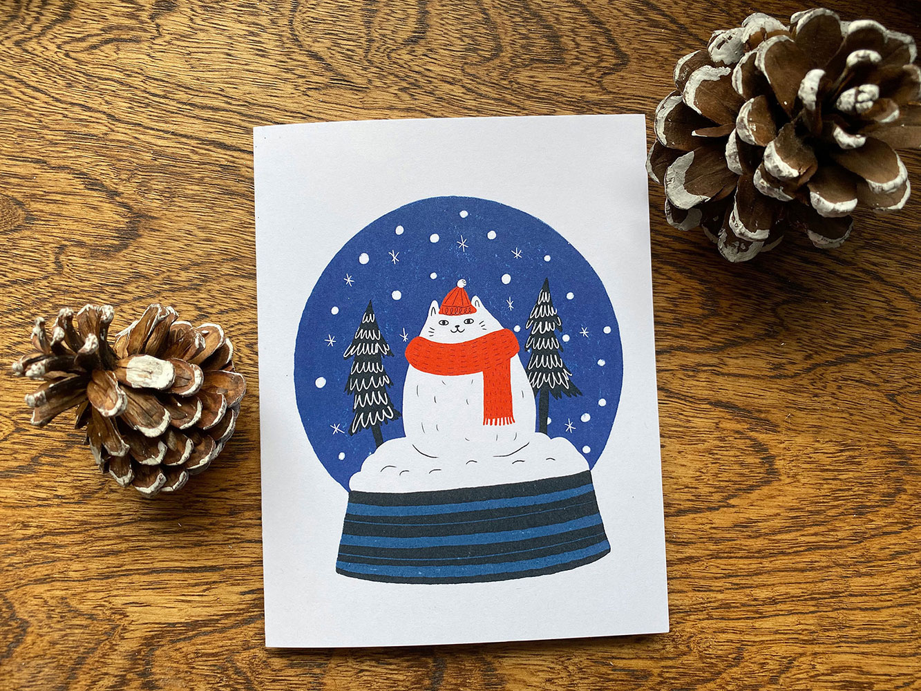 Holiday Card 2019 - Cat Snow Globe - Greeting Card