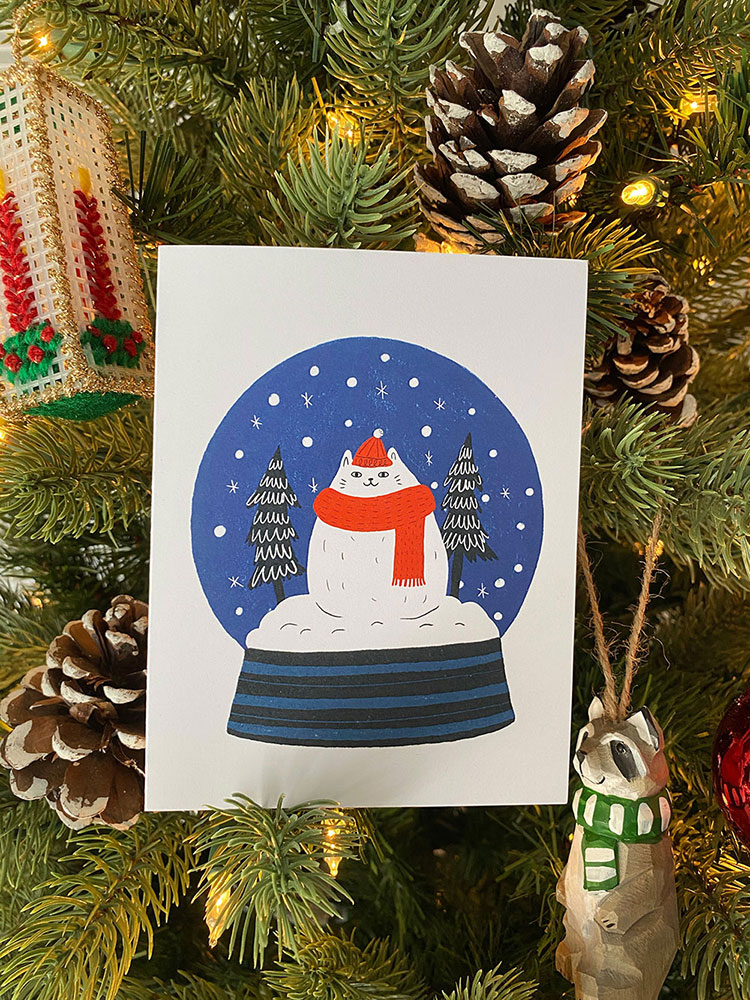 Holiday Card 2019 - Cat Snow Globe - Greeting Card 2